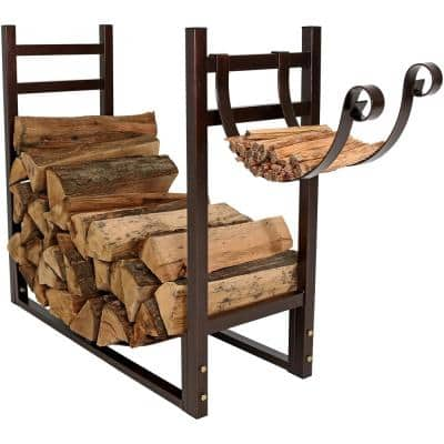 Bronze Indoor-Outdoor Firewood Log Rack with Kindling Holder