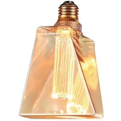 20-Watt Equivalence Iceberg UL Dimmable Laser Cut Classic Pattern E26 LED Light Bulb Amber 2000K 1-Bulb