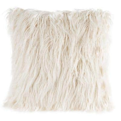 Ivory 22 in. W x 22 in. L Square Faux Mongolian Fur Throw Pillow