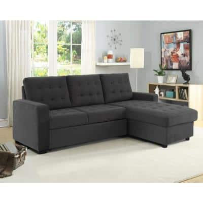 Barison Steel Microfiber Fabric 3-Seat Convertible Sofa,