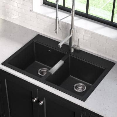Drop-in/Undermount Granite Composite 33 in. 1-Hole 50/50 Double Basin Kitchen Sink Kit in Black Onyx
