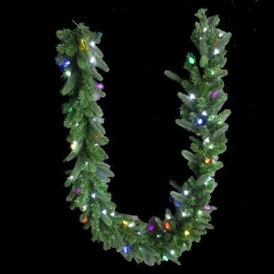 Sugarplum Knoll 9 ft. LED Pre-Lit Royal Grand Spruce Artificial Garland with Pure White and Multi Lights