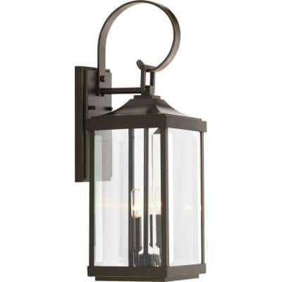 Gibbes Street Collection 2-Light Antique Bronze Clear Beveled Glass New Traditional Outdoor Medium Wall Lantern Light