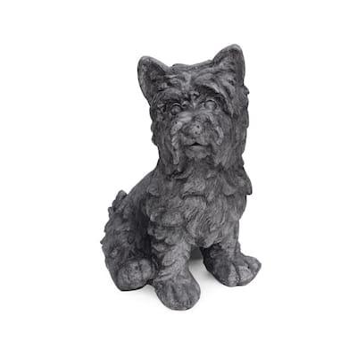 Cricket 11 in. x 9 in. Antique Grey Outdoor Terrier Dog Garden Statue
