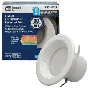 4 in. Selectable Integrated LED Recessed Trim Downlight 30 Configurations in 1 Fixture High Ceiling Output T20 Compliant