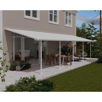 Feria 10 ft. x 32 ft. White Patio Cover Awning