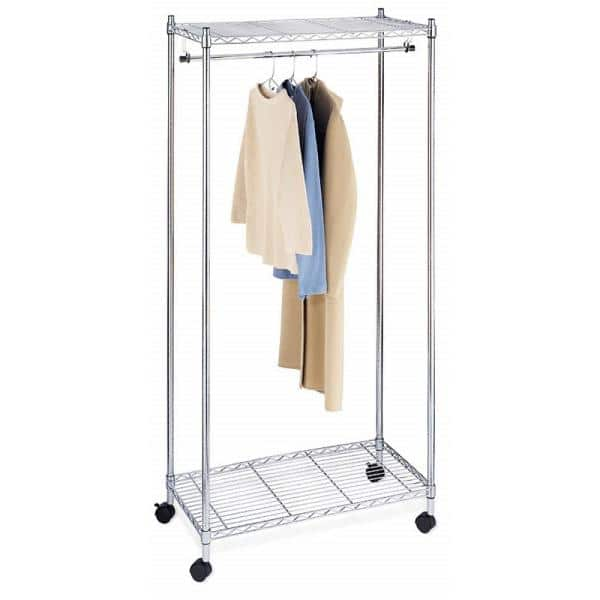 Whitmor Supreme Shelving Collection Chrome Clothes Rack 36 In W X 70 In H 6058 90 The Home Depot