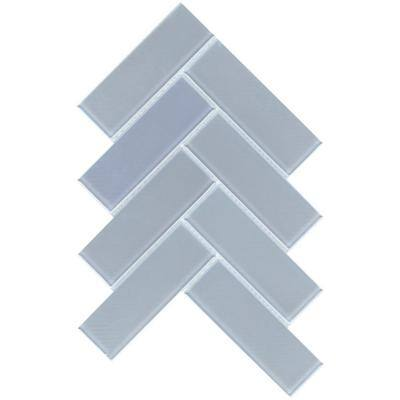 Irish Optic 8.39 in. x 11.42 in. Chevron Iridescent Glass Mosaic Tile (0.665 sq. ft./Each)