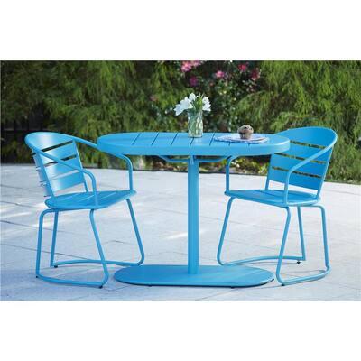 Turquoise 3-Piece Steel Outdoor Patio Bistro Set