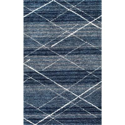 Vito Contemporary Trellis Shag Blue 7 ft. 6 in. x 9 ft. 6 in. Area Rug