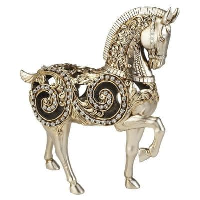11.50 in. H Silver Knight Horse Decorative Piece