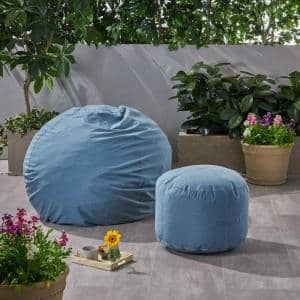 Rosalie Bay Blue Indoor Bean Bag and Ottoman Pouf