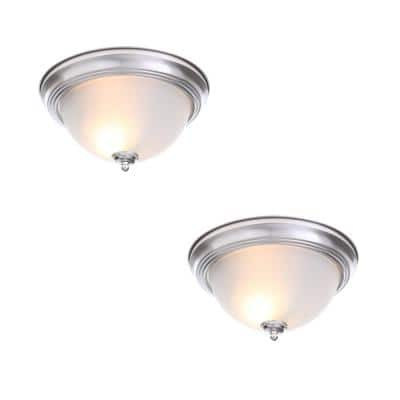 13 in. 2-Light Brushed Nickel Flush Mount with Frosted Glass Shade (2-Pack)