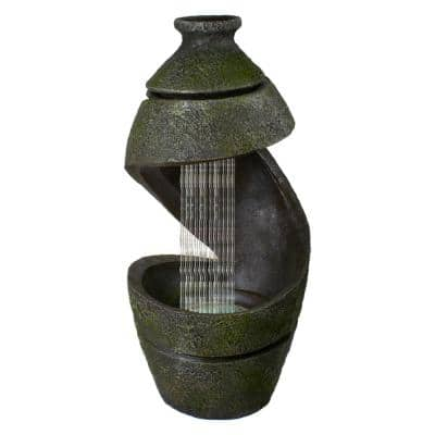 31 in. Green and Gray Mossy Outdoor Garden Water Fountain