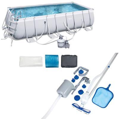 18 ft. x 9 ft. Rectangular Frame Above Ground Pool Set Plus Pool Cleaning Kit