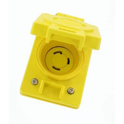 30 Amp 125-Volt Wetguard Flush Mounting Locking Grounding Outlet with Cover, Yellow