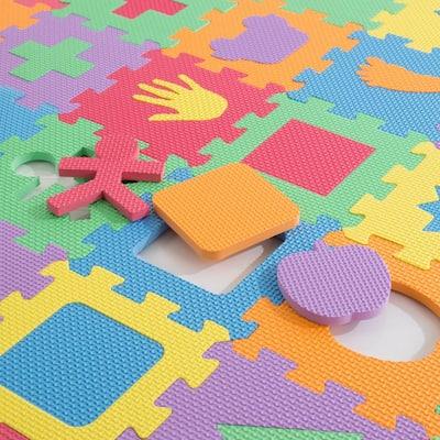 Multi-Colored 6.5 in. x 6.5 in. x 0.25 in. Interlocking EVA Foam Shapes Puzzle Floor Tile (56-Pack)
