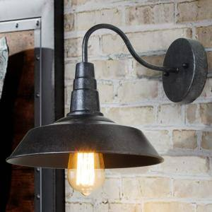 1-Light Dark Brown Gooseneck Wall Sconce Vintage Rust Barnlight