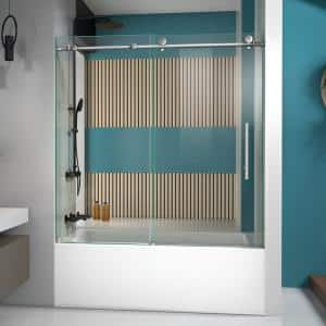 Enigma-X 55 to 59 in. x 62 in. Frameless Sliding Tub Door in Brushed Stainless Steel