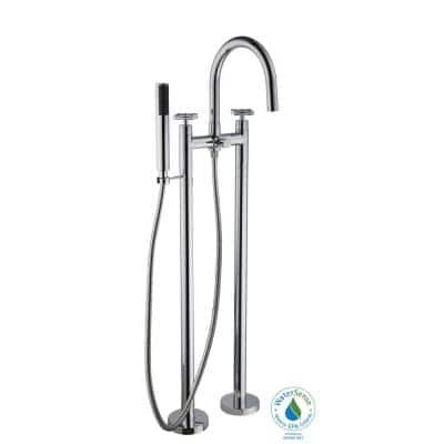 Danay 2-Pipe 2-Handle Freestanding Floor Mount Roman Tub Faucet with Handheld Handshower in Chrome