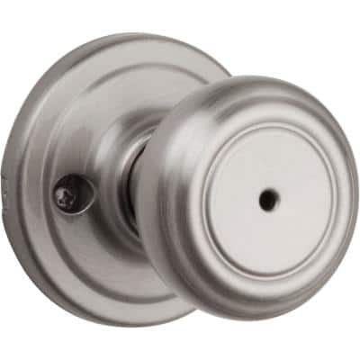 Cameron Satin Nickel Privacy Bed/Bath Door Knob Featuring Microban Antimicrobial Technology