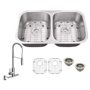 All-in-One Undermount 16-Gauge Stainless Steel 32-1/4 in. 0-Hole 50/50 Double Bowl Kitchen Sink with Pull Down Faucet