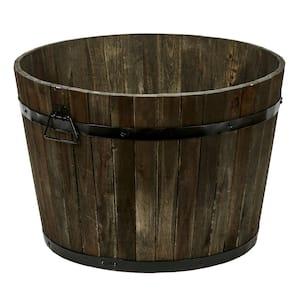 22 in. Dia x 15 in. H Brown Wood Bucket Barrel