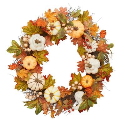 30 in. Unlit Artificial Harvest Wreath with Mixed Pumpkins
