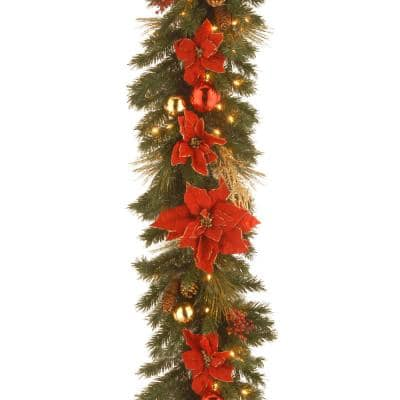Decorative Collection 9 ft. Home Spun Garland with Clear Lights