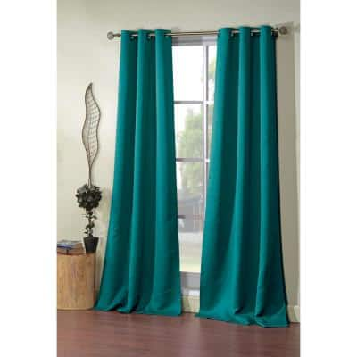 Turquoise Thermal Rod Pocket Blackout Curtain - 38 in. W x 84 in. L
