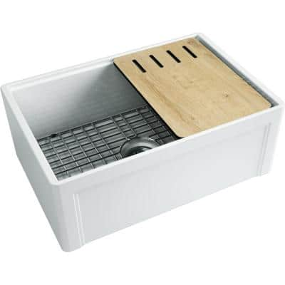 Derby Fireclay 27 in. Single Bowl Farmhouse Kitchen Sink with workstation