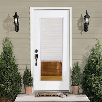 32 in. x 80 in. Premium Full Lite Left Hand Inswing Mini Blind Primed Steel Prehung Front Exterior Door with Brickmold