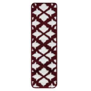 Floral Collection Red White 9 in. x 28 in. Polypropylene Stair Tread Cover (Set of 13)