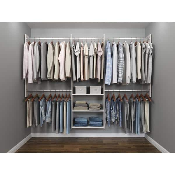 Closet Evolution Deluxe 60 In W 96 In W White Wood Closet System Wh1 The Home Depot