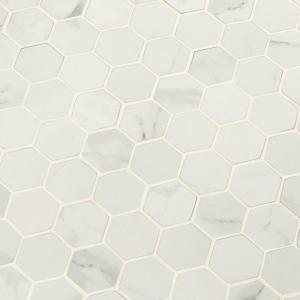 Carrara White Hexagon 12 in. x 12 in. x 10mm Matte Porcelain Mesh-Mounted Mosaic Tile (8 sq. ft./Case)