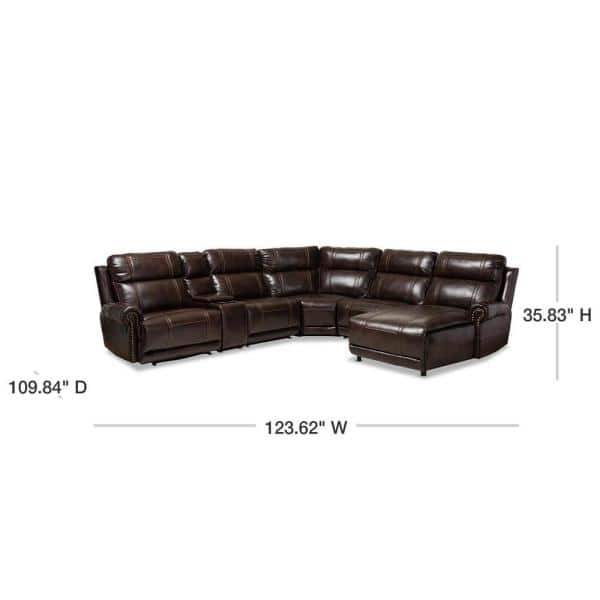 Baxton Studio Dacio 6 Piece Brown Faux, Fake Leather Curved Sectional Sofa
