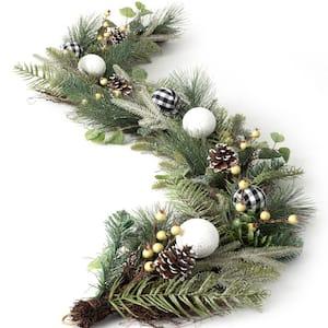 6 ft. Unlit Green Pine/Ornament Artificial Christmas Garland