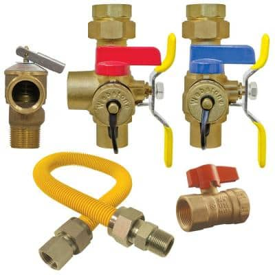 3/4 in. Brass Lead Free Tankless Water Heater Installation Kit Service Valve, Gas Flex Line and Choice of Gas Ball Valve