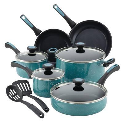 Riverbend 12-Piece Aluminum Nonstick Cookware Set in Gulf Blue Speckle