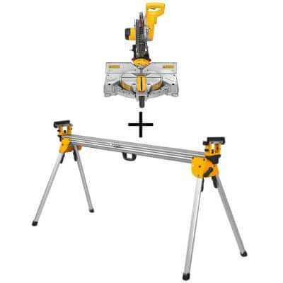 12 in. 15 Amp Compound Double Bevel Miter Saw with Heavy-Duty Miter Saw Stand