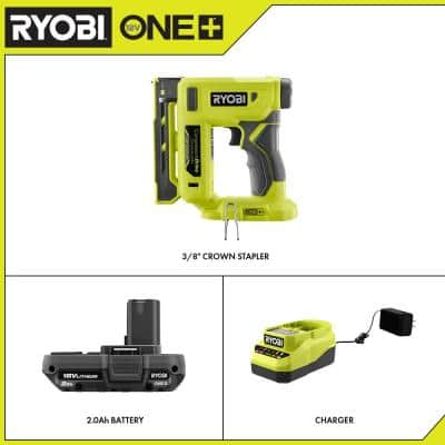 ONE+ 18V Cordless Compression Drive 3/8 in. Crown Stapler and 2.0 Ah Compact Battery and Charger Starter Kit