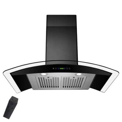 36 in. Convertible Wall Mount Range Hood in Black Painted Stainless Steel with Tempered Glass and Remote Control