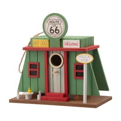 9.45 in. L Wooden Truck-Shop Birdhouse