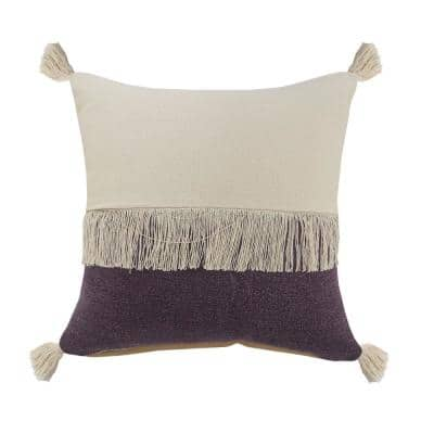 Festival Fringe Violet Purple/Off-White Color Block Soft Poly-Fill 20 in. x 20 in. Throw Pillow