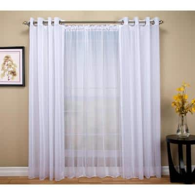 White Solid Extra Wide Rod Pocket Sheer Curtain - 108 in. W x 84 in. L