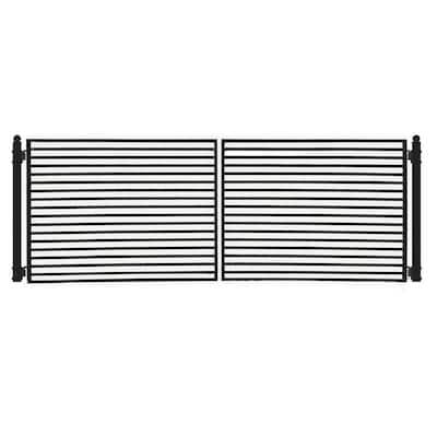 Driveway 18 ft. x 6 ft. Black Steel Dual Swing Fence Gate