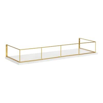 Benbrook 24 in. x 4 in. x 8 in. White/Gold Decorative Wall Shelf