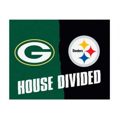 NFL Packers / Steelers Green House Divided 3 ft. x 4 ft. Area Rug