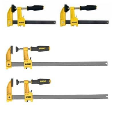 12 in. and 6 in. 600 lb. Bar Clamps (4-Pack) w/2.5 in. Throat Depth