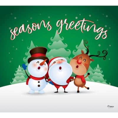7 ft. x 8 ft. Christmas Characters Seasons Greetings-Christmas Garage Door Decor Mural for Single Car Garage